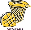 Vector Clip Art graphic  of a Basketballs and Nets