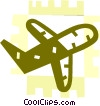 Vector Clip Art image  of a Commercial Jets