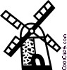 Dutch Windmills Vector Clipart illustration