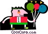 man with party balloons Vector Clipart image