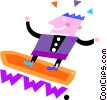 Vector Clipart graphic  of a Surfing