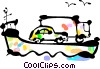 Vector Clip Art graphic  of a Ferry Boats