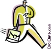 Vector Clipart picture  of a Running and Walking