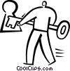 Vector Clipart graphic  of a man unlocking a door