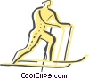 Vector Clipart graphic  of a Cross Country Skiing