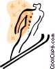 Vector Clip Art graphic  of a Ski Jumping