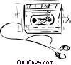 Vector Clipart graphic  of a Portable Cassette Players