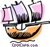 Vector Clip Art graphic  of a Clippers and Tall Ships