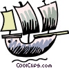 Vector Clipart graphic  of a Clippers and Tall Ships