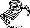 Vector Clip Art graphic  of a Film Strips and Post