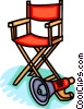 Vector Clipart image  of a Director's chair and megaphone