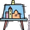 Vector Clip Art image  of a Painting and Frames
