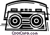 Vector Clip Art graphic  of a Portable Cassette Players