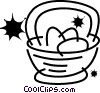 Easter basket with Easter eggs Vector Clip Art picture