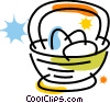 Vector Clipart graphic  of a Easter basket with Easter eggs