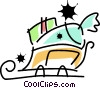 Santa's sleigh loaded with presents Vector Clip Art picture