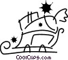 Vector Clip Art graphic  of a Santa's sleigh loaded with