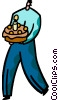 man presenting a birthday cake Vector Clipart picture