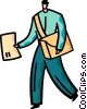 Vector Clipart picture  of a Postman Mailman