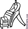 Vector Clip Art picture  of a Hand Carts and Dollies