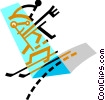 Vector Clipart illustration  of a Downhill Skiing