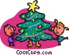 Vector Clip Art image  of a playing around the Christmas tree