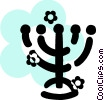 Vector Clip Art image  of a Menorahs