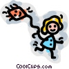 Vector Clipart illustration  of a Kite Flying