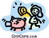 Vector Clip Art graphic  of a Piggy Banks