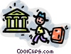 businessman on his way to the bank Vector Clip Art picture