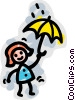woman in the rain Vector Clipart graphic