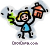 woman buying a house Vector Clipart picture