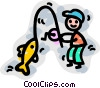 Fisherman Vector Clipart graphic