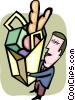 Vector Clipart image  of a Man with groceries