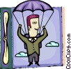 Vector Clip Art picture  of a Skydiving