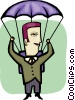 Businessman parachuting Vector Clip Art graphic