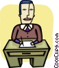 Vector Clipart illustration  of a Doing Paperwork