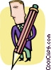 businessman with a large pencil Vector Clip Art image
