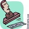 businessman rubber stamp Vector Clipart graphic