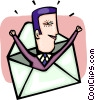Businessman in an envelope Vector Clip Art graphic