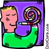 Vector Clipart graphic  of a boy and his noise maker