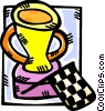 an auto racing trophy and winners flag Vector Clip Art picture