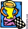 an auto racing trophy and winners flag Vector Clipart picture