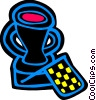 Vector Clipart graphic  of an an auto racing trophy and