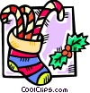 Vector Clip Art picture  of a stocking filled with candy