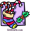 stocking filled with candy canes Vector Clipart image