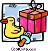 Vector Clip Art graphic  of a baby gift with a rubber duck