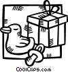 Vector Clipart picture  of a baby gift with a rubber duck