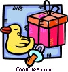 Vector Clip Art image  of a baby gift with a rubber duck