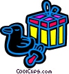 Vector Clipart illustration  of a baby gift with a rubber duck